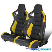 One Pair Black Yellow Durable Pvc Leather Carbon Fiber Look Sporty Racing Seat