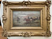 J. Demski 19th Century Officers On Horseback With Covered Wagons Oil On Canva