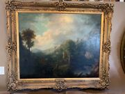 Clarkson Stanfield English 1793 - 1867 Pyrenees Mountains Oil Antique Painting