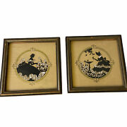 2 Vtg Buzza Company Craftacres Pictures Victorian Southern Ladies Silhouette 4.5