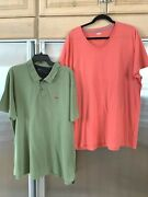 Lot Of 2 Mens Shirts Classic Polo Olive Xxl Slim And Neck 18.5 And Old Navy T