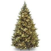 Christmas Tree 7 Ft Carolina Pine Hinged Flocked Pinecones With Clear Lights