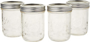 Ball Mason Jar Pint Wide Mouth Clear Glass W/lids And Bands, 16-ounces Set Of 4