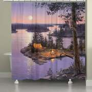 Laural Home Lake At Twilight 71 X 74-inch Shower Curtain Purple