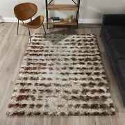 Addison Rugs Borealis Plush Abstract Shag Rust/taupe/ivory Ivory 9and0396x13and0392