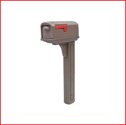 New Classic All-in-one Medium Plastic Mailbox And Post Combo Mocha