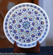 8 Antique Marble Round Plate Micro Mosaic Lapis Inlay Marquetry Gift Deco H1954