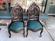 Pair Of Laminated Pierce Carved Belter Side Chairs