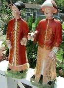 Pair Of Vintage Italian Made Porcelain Chinese Mottenhedeh Figurines