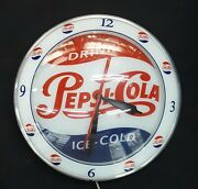 Vintage Drink Pepsi Cola Double Bubble Round Wall Clock