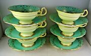 6 Vintage New Chelsea Staffs Tea Cup And Saucer Sets Fruit Heavy Gold Turquoise
