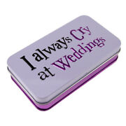200 X Boxes 'i Always Cry At Weddings' Handy Tissues In A Metal Tin