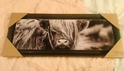 🐄 New Farmhouse Black White Highland Cow Picture Wall Hanging Canvas 🐄 Dg