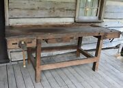 Antique Carpenters Wood Work Bench Table 84 X 30 W/vices/drawer Orrville, Oh