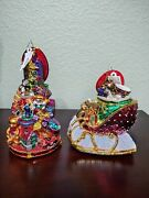 Two Christopher Radko Christmas Ornaments Ruby Sleighride Glorious Gift Stack