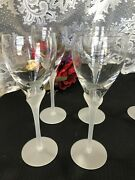 Set Of 4 Towle Antique Satin Frosted Stem Wine Goblets 8 3/4