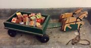 Vintage Wood Horses And Wagon Pull Toy And Vintage A-z Wood Blocks