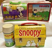 Lot Of 3 Peanuts Snoopy Lunchboxes Vintage 1968 W/ Thermos + Joe Cool And Cookies