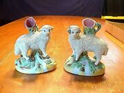 Pair Of Antique Staffordshire Pottery Sheep Spill Vases Nice