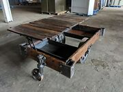 Unique Lift Top Antique Factory Cart Coffee Table Lineberry Restored We Ship