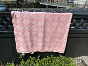 Bates Pink/ Wh Flowers 76x82 Cotton Vint Jacquard Blanket Coverlet Spread Throw