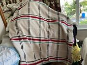 Bates Plaid Oatmeal Red Blk Cotton Jacquard Blanket Coverlet Spread Throw 84x94