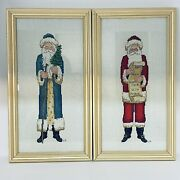 Father Christmas Santa Claus Cross Stitch Completed Framed 17.5 X 9.75 Set Oftwo