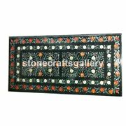 Black Marble Dining Table Top Carnelian Floral Inlay Precious Home Art Deco B035