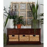 Cabinet With 4 Vertical Wicker Baskets Black