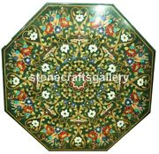 36 Green Marble Dining Side Table Mosaic Floral Inlay Arts Handmade Decors B072