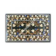 4and039x2and039 Black Marble Dining Table Top Marquetry Floral Inlay Lapis Home Decor E992