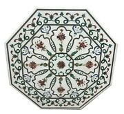White Octagon Marble Dining Table Top Precious Mosaic Floral Inlay Art Deco W086