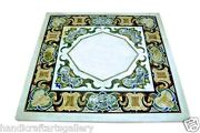 3and039x3and039 White Marble Coffee Table Mosaic Inlaid Arts Marquetry Home Decors Gifts
