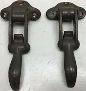 Ww2 Jeep Early Willys Mb Slat Grille Brass Windshield Catches Original Pair 2