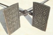 Rare Antique French Waffle Maker Cast Iron Floral Pattern Signature 1800s 35inch