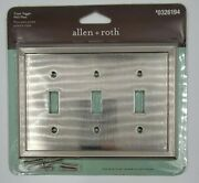 Allen + Roth Metal Triple Toggle Light Switch Cover- Satin Nickel Finish 0326194