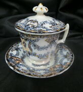 17 Or 1800and039s Flow Blue Pot De Creme Covered 3 Piece Soup Not Marked / Rare And Old