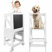 Kids Kitchen Step Stool Wooden Learning Stool With Safety Rail And White