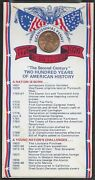1976 Bicentennial Lincoln Penny Card 200 Two Hundred Years Of American History