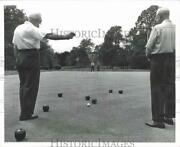 1968 Press Photo Alex Mcarthur, Matthew Fleming At Bocce Game In New Jersey Park