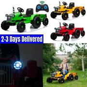 12v Kids Ride On Toy Electric Tractor Trailer Truck W/ Led Lights Remote Control