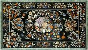 Black Marble Dining Table Top Multi Floral Inlay Fruits Home Arts Decorate B056