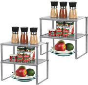 Spice Rack Cabinet Shelf Organizers Set Of 4 Kitchen Shelves For Counter Cup