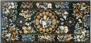 Black Marble Dining Table Top Marquetery Inlay Floral Home Decor Arts B053