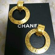 Auth Vintage Logo Letter Ring Hoop Clip On Earrings Gold Used From Japan