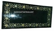 Black Marble Dining Side Table Top Precious Mop Inlay Floral Art Home Decor H931