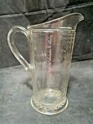 Large Antique Hoosier Style Glass Measuring Cup Pitcher - Wet And Dry Measurements