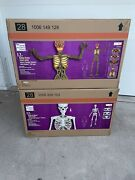 Two 12 Foot Ft Giant Skeletons W/ Animated Lcd Eyes Halloween Prop Sold Out New