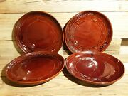 Marcrest Stoneware Daisy Dot Warm Colorado Brown 9 1/2 Dinner Plate Set Of 4