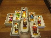 Vintage Christopher Radko Complete Set Snow White And The Seven Dwarf Ornaments